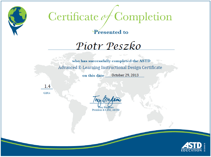 ASTD Certificate